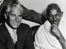 Charlie Chaplin with Gandhi at Kingsley Hall