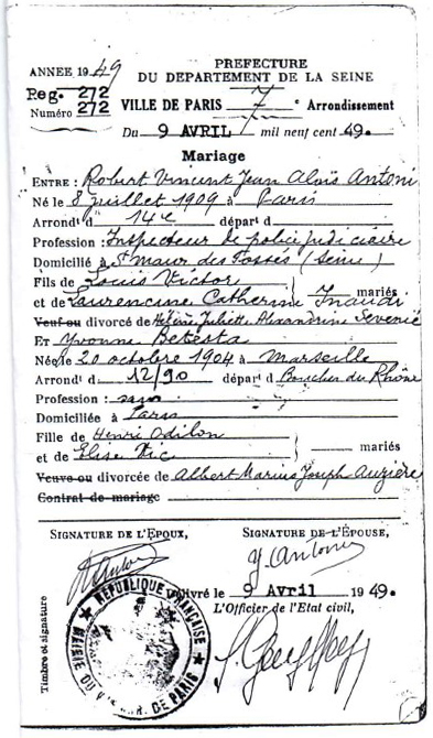 Robert & Yvonne's Marriage Certificate.  Courtesy of Hasan Selisik
