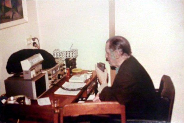 Stan at his short-wave radio in his home