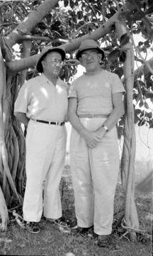 1954, India : Fred ( left ) standing next to John Bass