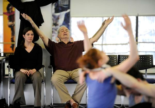 "Donald Mahler, who appeared in ""Echoing of Trumpets"" with the Metropolitan Opera Ballet in 1966, teaches the piece to Colorado Ballet dancers with the help of ballet mistress Sandra Brown. (Andy Cross, The Denver Post )"