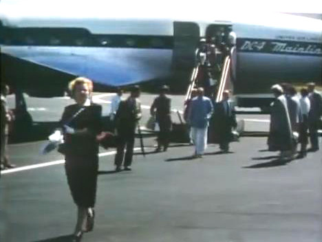 "1956 : Arrived  flying United Airlines DC4 "" Mainliner """