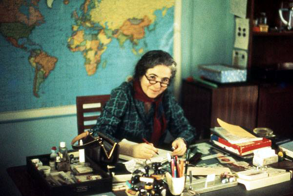 Mani at her desk in the 70s ; Courtesy of Anne Giles