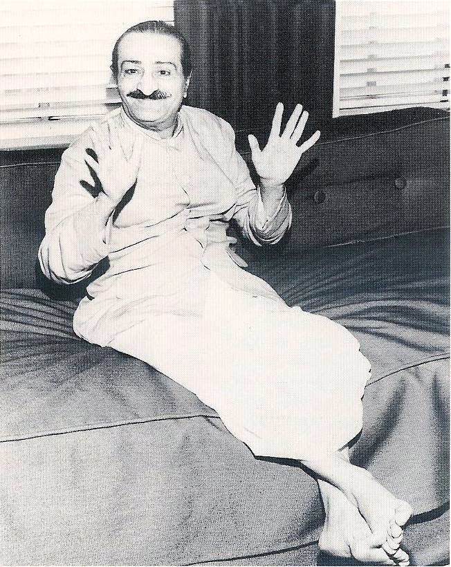 31st July, 1956 - Los Angeles : Meher Baba during a newspaper interview.