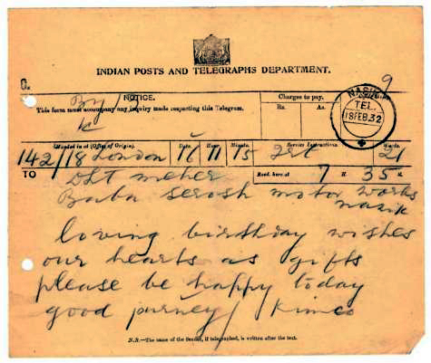 February 1932 : Birthday wishes from Kimco to Baba