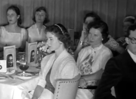 Image shows some of the occupants of table No.6 - Margarita Ross ( far left ) & Anne Ross next to her. Menu cards on the tables