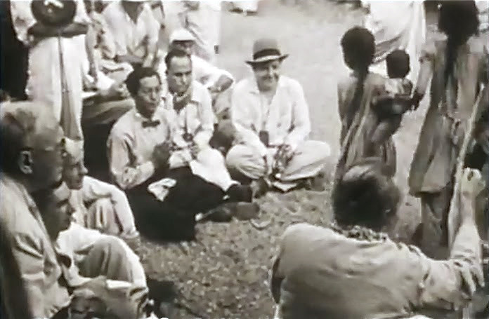 """1954 ,Ahmednagar, Trust compound,India ; Hitaker sitting with his hands together  - Courtesy of """"Meher Baba's Call"""""""