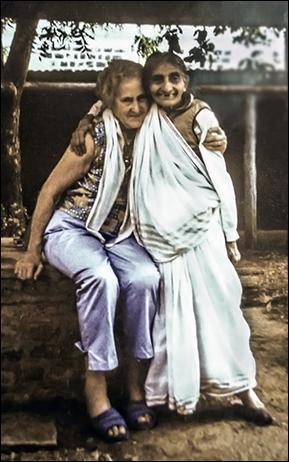 Irene with Mansari in 1983 on Meherabad Hill