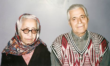 Esfandiyar with his wife