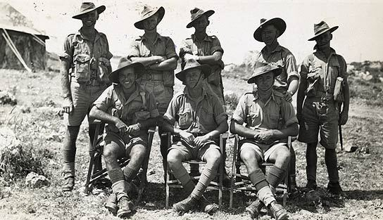 Australian troops posing for victory photos, prior to being sent to Papua & New Guinea
