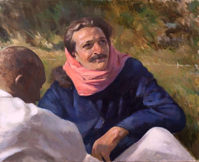 Meher Baba with Mast at Rahuri, 1937 ; Artist - Gregg Rosen