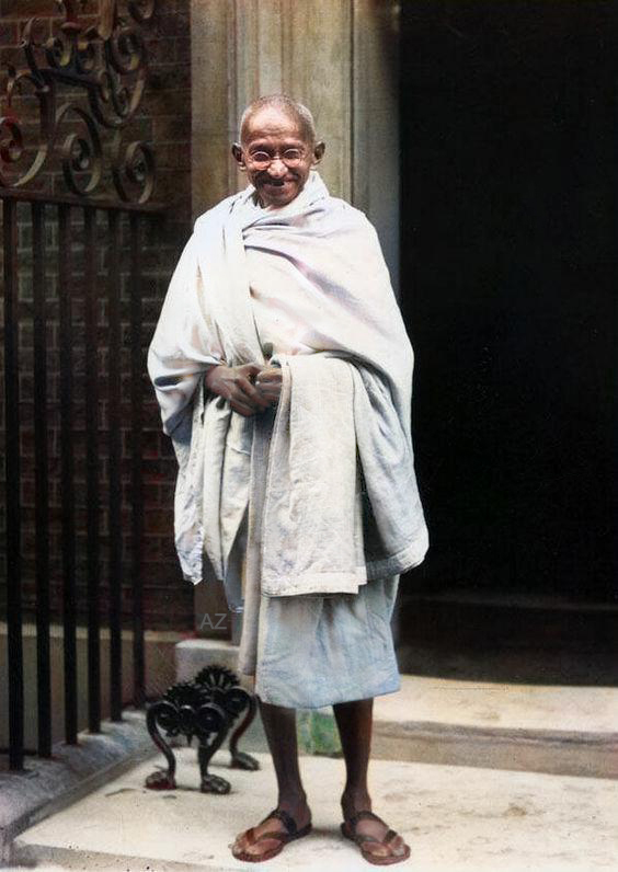 Gandhi at 10 Downing Street London, England in 1931. Image colourized by Anthony Zois.