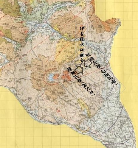 上図:黒○の印伊香保水沢観音がゼロ磁場と想定、その地点は日本一深い地底と思われる。   下図:ブーゲー重力異常、最もゼロ磁場に近い区域L、その上方の伊香保水沢観音がと推測される