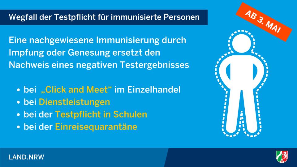 Wegfall der Testpflicht für immunisierte Personen