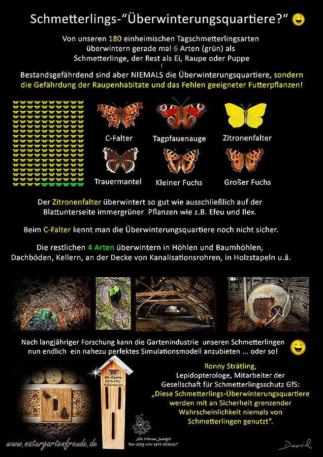 Insektenhotel insect hotel Nisthilfe nesting aid Insektennisthilfe Schautafel poster Schmetterling butterfly Überwinterung Hibernation bug house Kleiner Großer Fuchs C-Falter Tagpfauenauge Zitronenfalter Trauermantel Neudorff