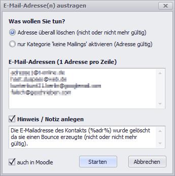 E-Mail-Adressen austragen