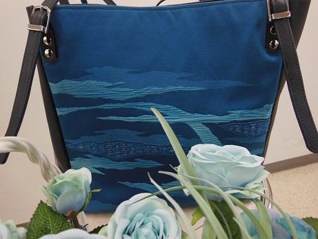 帯リメイクバッグ1青と藍