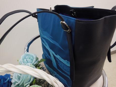 帯リメイクバッグ2青と藍