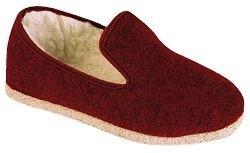 pantoufle uni laine bordeaux en semelle feutre ou feutre antidérapant