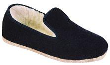 pantoufle uni laine marine en semelle feutre ou feutre antidérapant