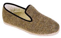 pantoufle uni laine beige en semelle feutre ou feutre antidérapant