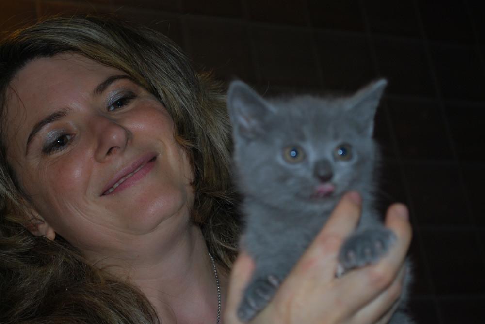 Giorgia con il cucciolo di Percival