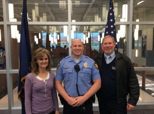 School Resource Officer Matt Schuman and Principal Tim Lowe and Assistant Principal Sheri Fisher. Image courtesy: Washington County School District