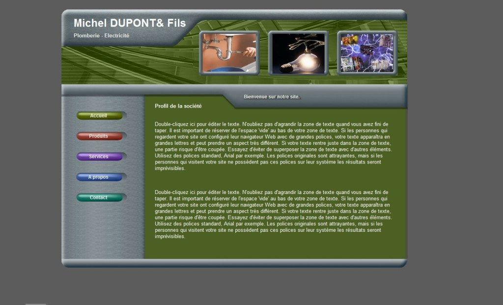Exemple de site pour artisan plombier -électricien (photo non contractuelle)