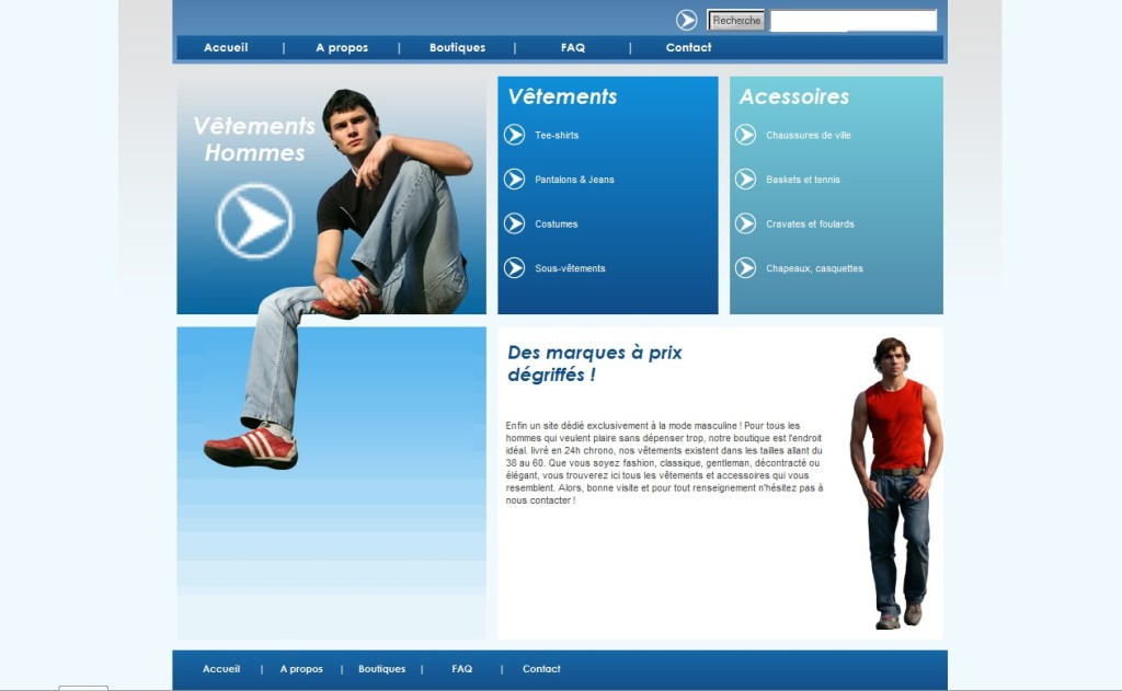 Exemple de site d'e-commerce Mode Homme (photo non contractuelle)