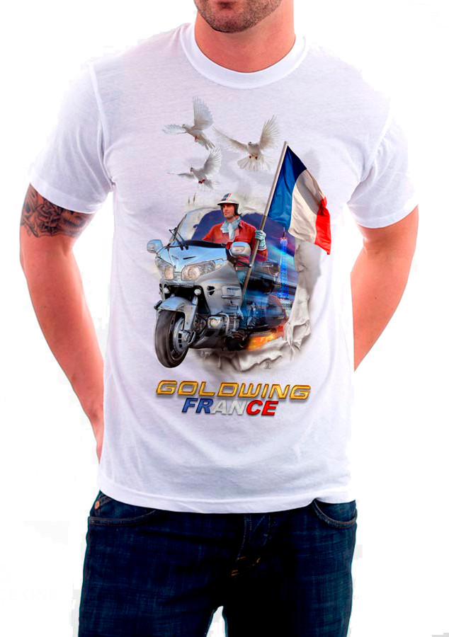 "T-shirt ""FRANCE"" création GOLD FORCE ONE (Goldwing 1800 - 2007)"