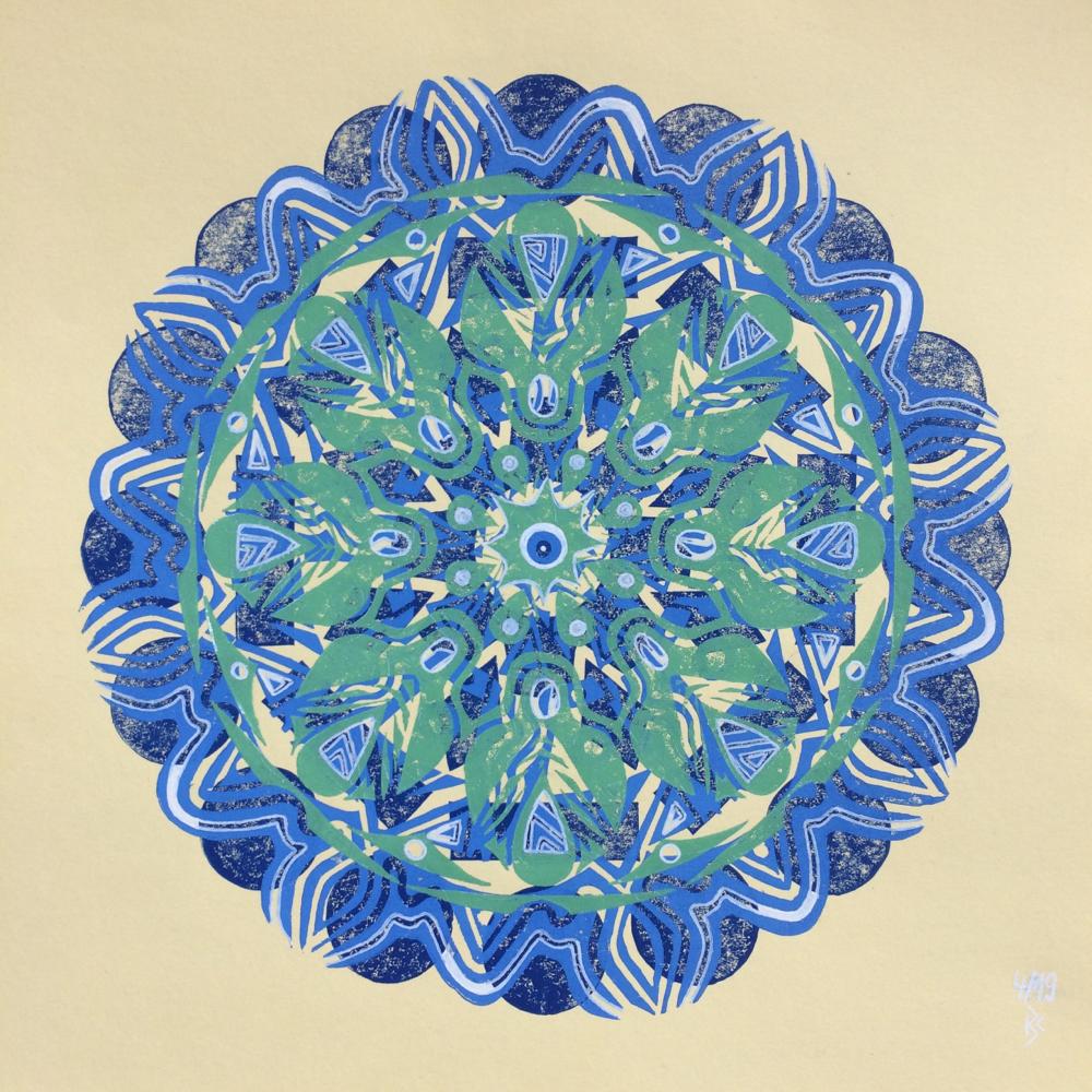 Linoldruck mit Outlines, 23x23cm, 04/2019