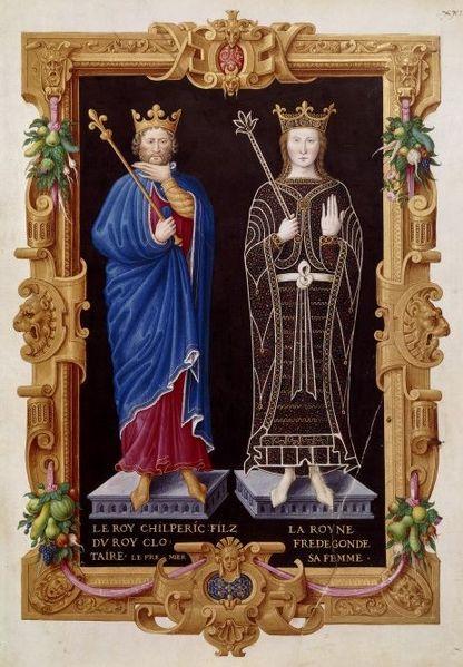 Chilperich und Fredegunde. Jean du Tillet. Recueil des rois de France. Bibliothèque Nationale de France, 16. Jahrhundert