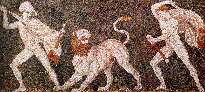 Bodenmosaik aus einer Villa in Pella. Alexander der Große und sein Feldherr Krateros bekämpfen einen Löwen