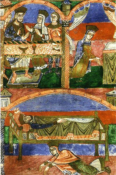 Radegunde an der königlichen Tafel und betend neben dem königlichen Bett, 11. Jh., Bibliothek von Poitiers