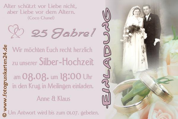Silberhochzeit Einladungskarten   Mit Ihren Fotos U0026 Wunschtext Gestaltet