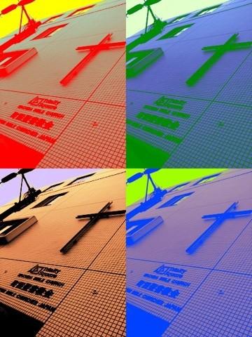 Trinity外壁の十字架&ロゴ。