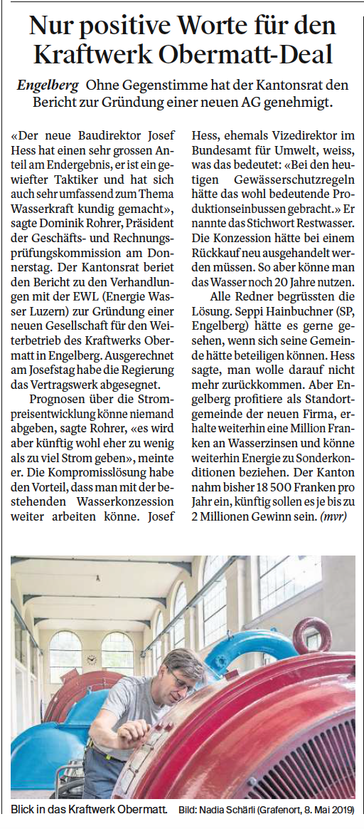 Obwaldner Zeitung vom 24.05.19