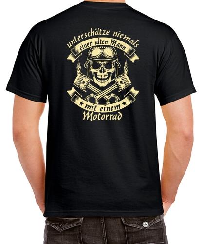 Biker T-Shirt ALTER MANN MIT EINEM SUPERBIKE Motorrad Motiv Totenkopf Spruch