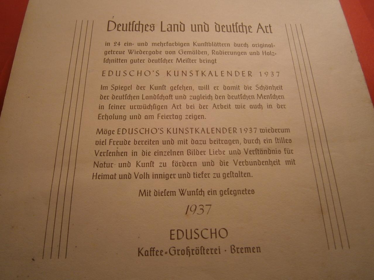 Eduscho Kunstkalender 1937