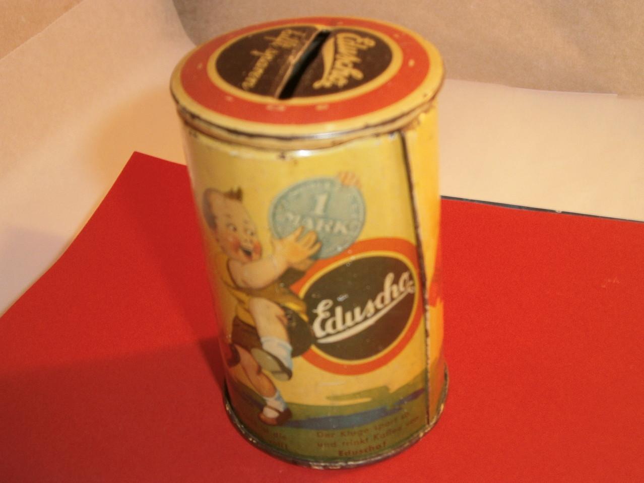 Eduscho Blechspardose um 1930
