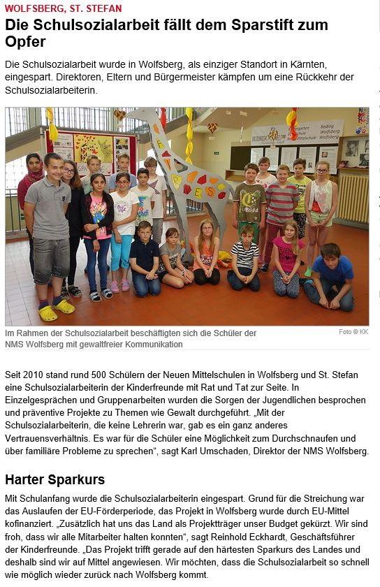 Bericht Kleine Zeitung Sa, 21.11.2015