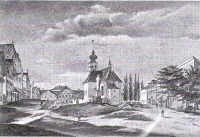 Riedau Marktplatz um 1848