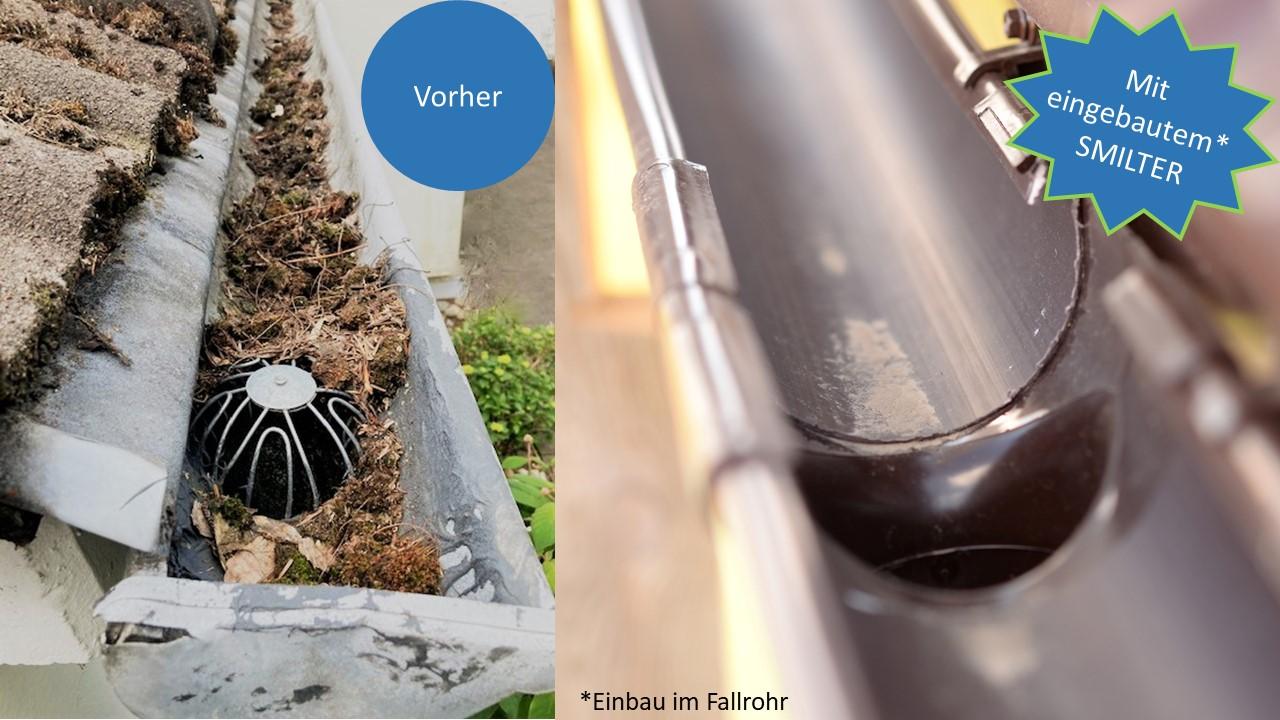 Dachrinnenschutz: So einfach funktioniert der SMILTER Laubschutz für das Fallrohr!
