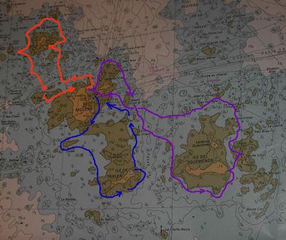 Cartographie partielle de l'archipel pour y signifier mes sorties principales