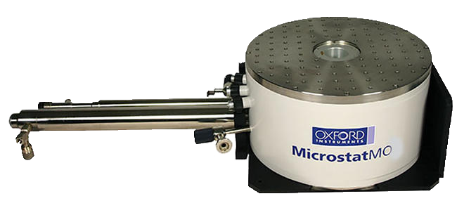 A compact helium cryostat with integrated 5 T magnet for microscopy applications.