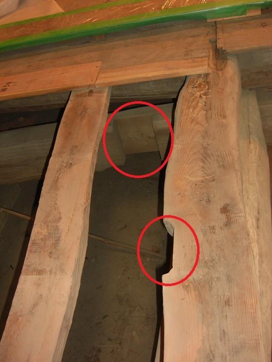 本堂床下 大規模建造物のリサイクル材