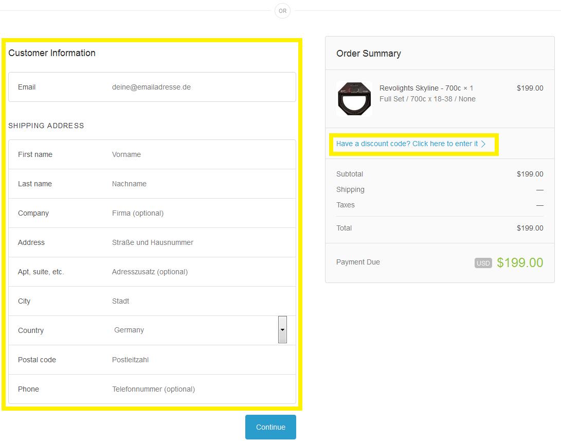 Links Kontaktdaten und Adresse ausfüllen, rechts Eingabe des discount-Codes aktivieren
