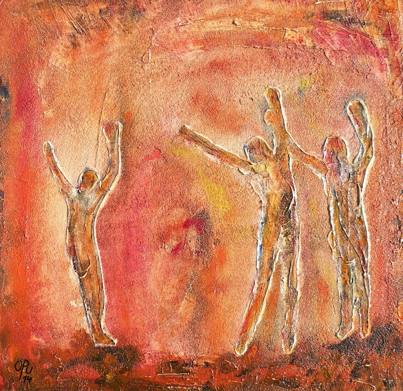 Tanzen, 60 x 60cm, Mischtechnik auf Leinwand, 2014