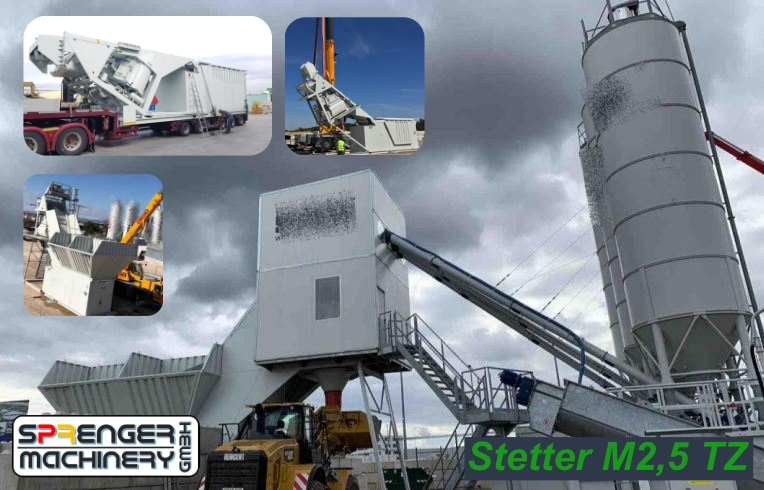 successful sales, delivery, transport organization through to commissioning Stetter M2,5 TZ - 2019 - to the construction site Airport Frankfurt / Main including our fresh concrete recycler RSM-MREC 15