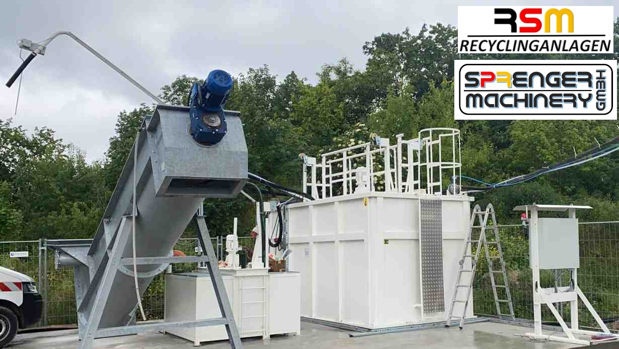 Sales, delivery, transport organization through to commissioning one of our mobile residual concrete washing systems RSM-MREC 15 - to cemex / Transmobil Berlin Ruedersdorf -